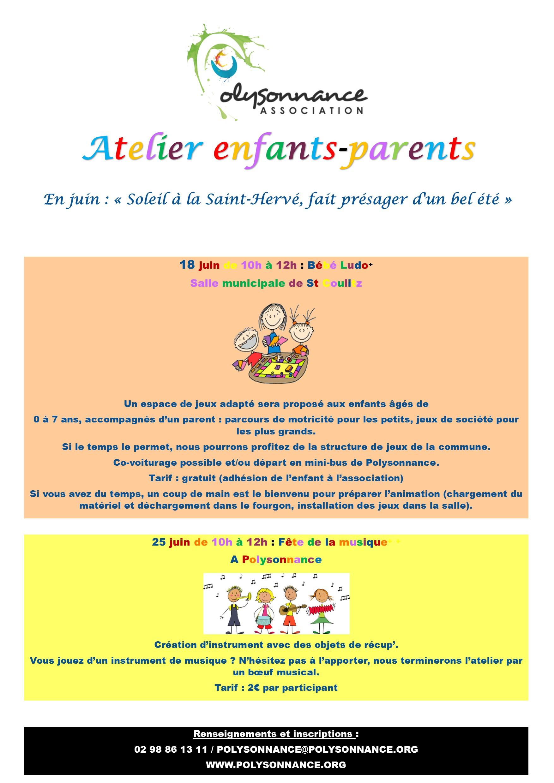 ATELIER PARENT-ENFANT : 18 JUIN «bébéludo» à Saint Coulitz et 25 JUIN : Fête de la musique à Polysonnance
