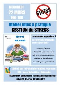 Affiche atelier Gestion du stress - 22 mars 2017