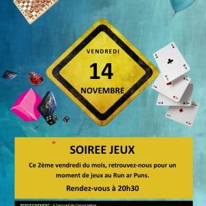Affiche soirée jeux au Run le 14 novembre 2014