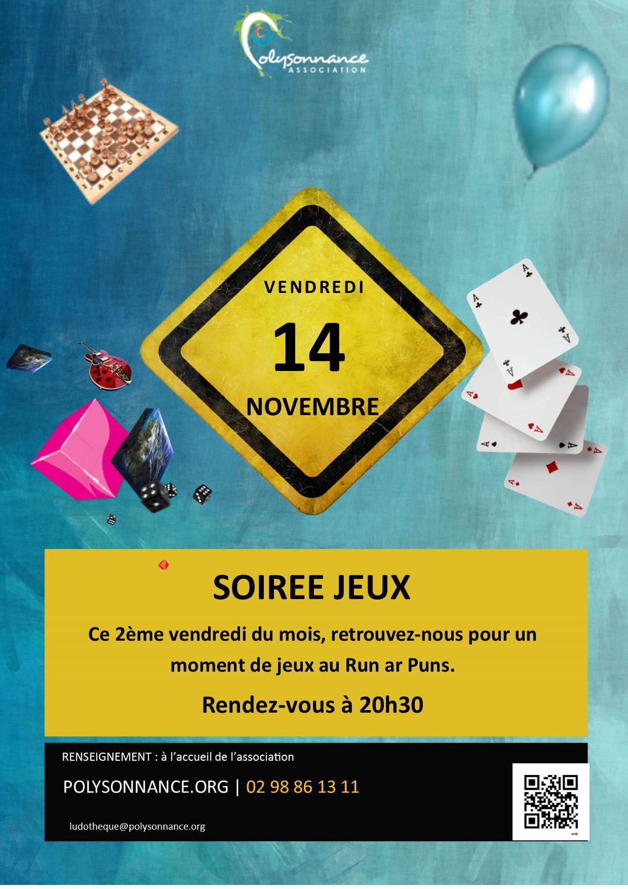 SOIREE JEUX : PROCHAINE RENCONTRE VENDREDI 14  NOVEMBRE 2014- 20H30 AU RUN AR PUNS