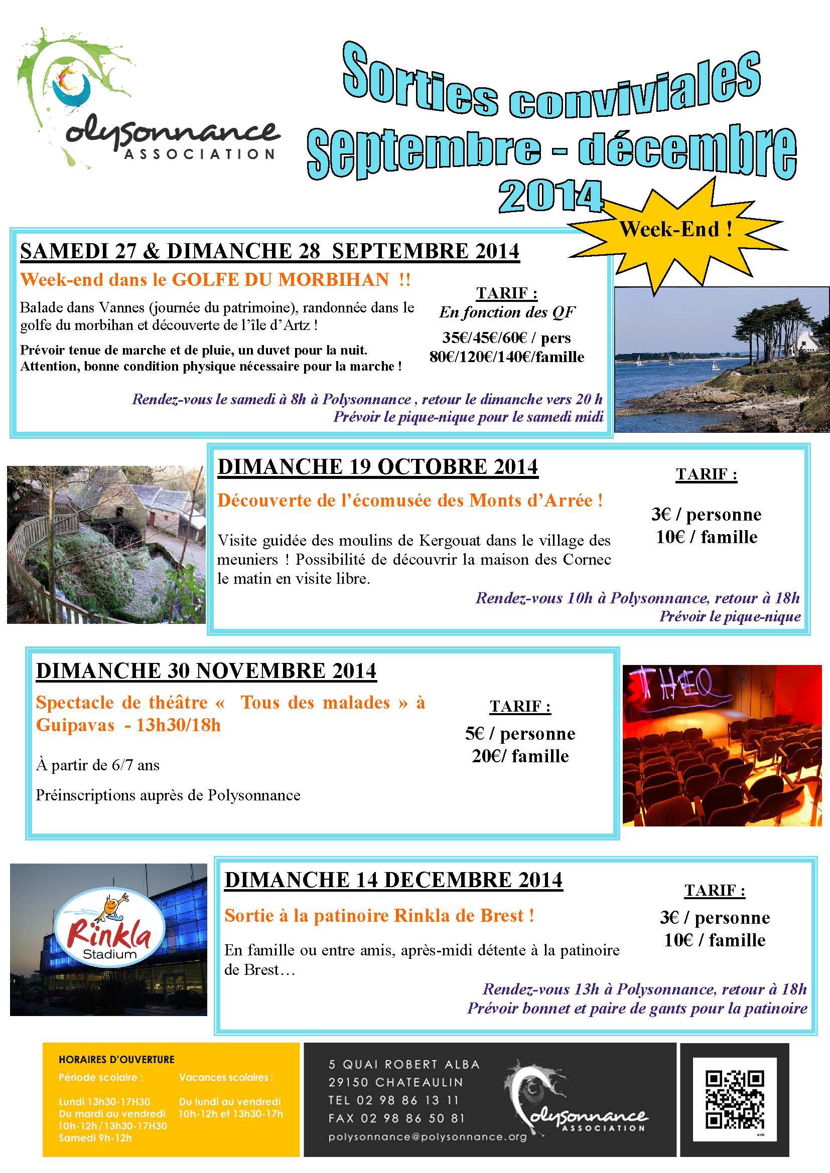 SORTIES FAMILIALES DE SEPTEMBRE A DECEMBRE 2014