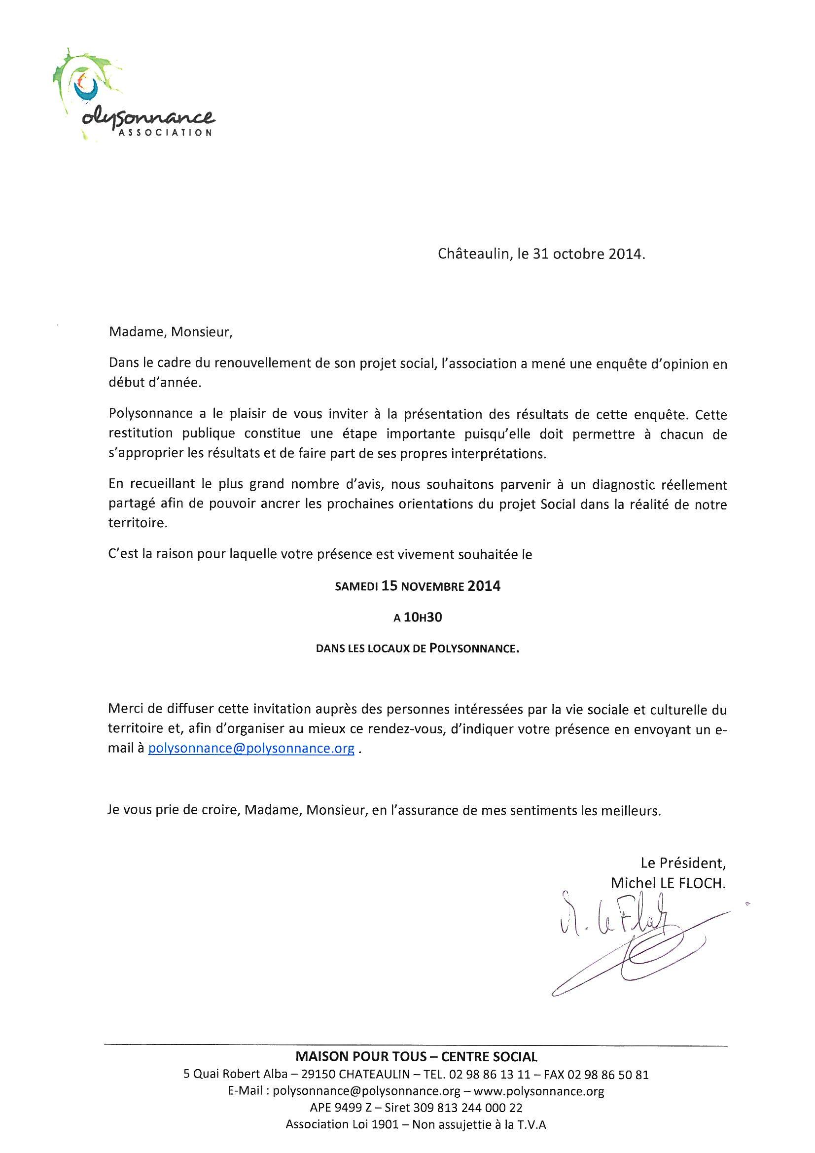 INVITATION REUNION PUBLIQUE SAMEDI 15 NOVEMBRE A 10H30 A LA MPT