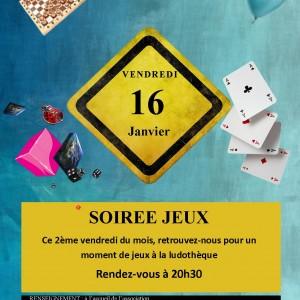 Affiche soirée jeux ala ludo le 16 janvier 2015