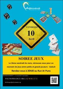 Affiche soirée jeux au Run le 10 avril 2015