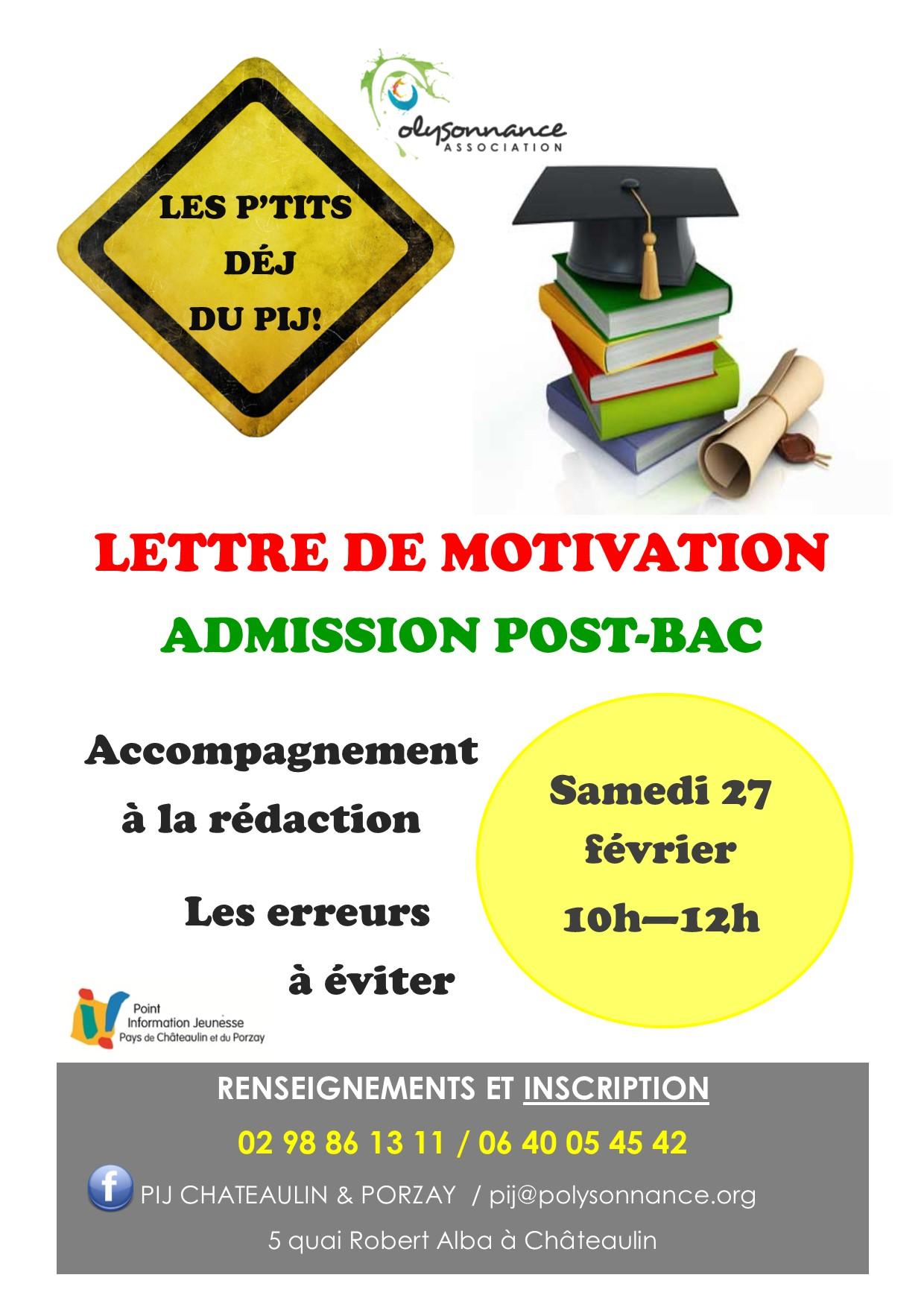 27 février P'tit déj du PIJ «Lettre de motivation admission post bac»