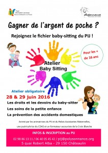Affiche atelier BABY-SITTING 28-29 juin 2016