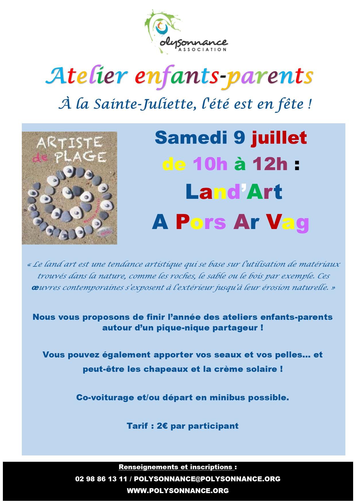 ATELIER PARENTS /ENFANTS : SAMEDI 9 JUILLET – LAND'ART A PORS AR VAG