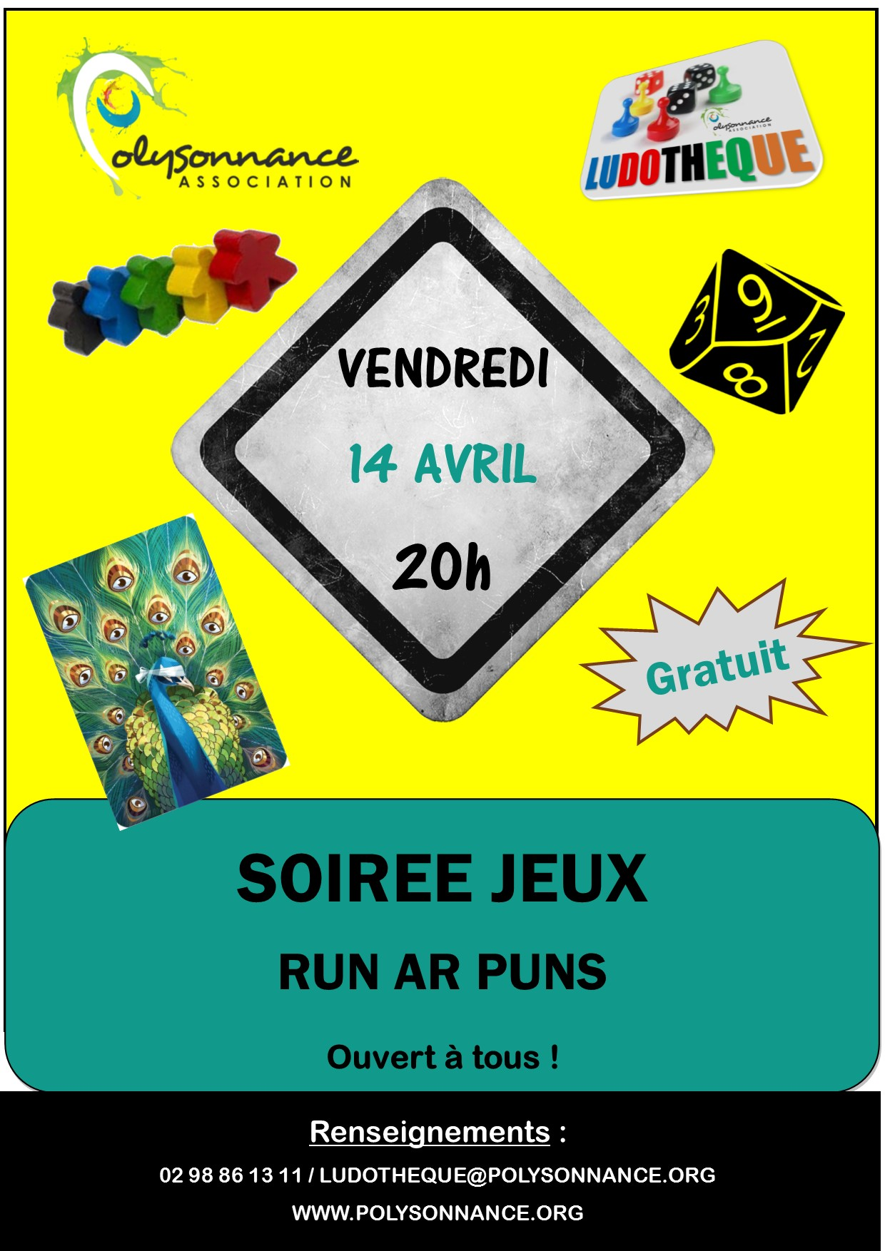 SOIREE JEUX : PROCHAINE DATE  : VENDREDI 14 AVRIL A 20H AU RUN AR PUNS