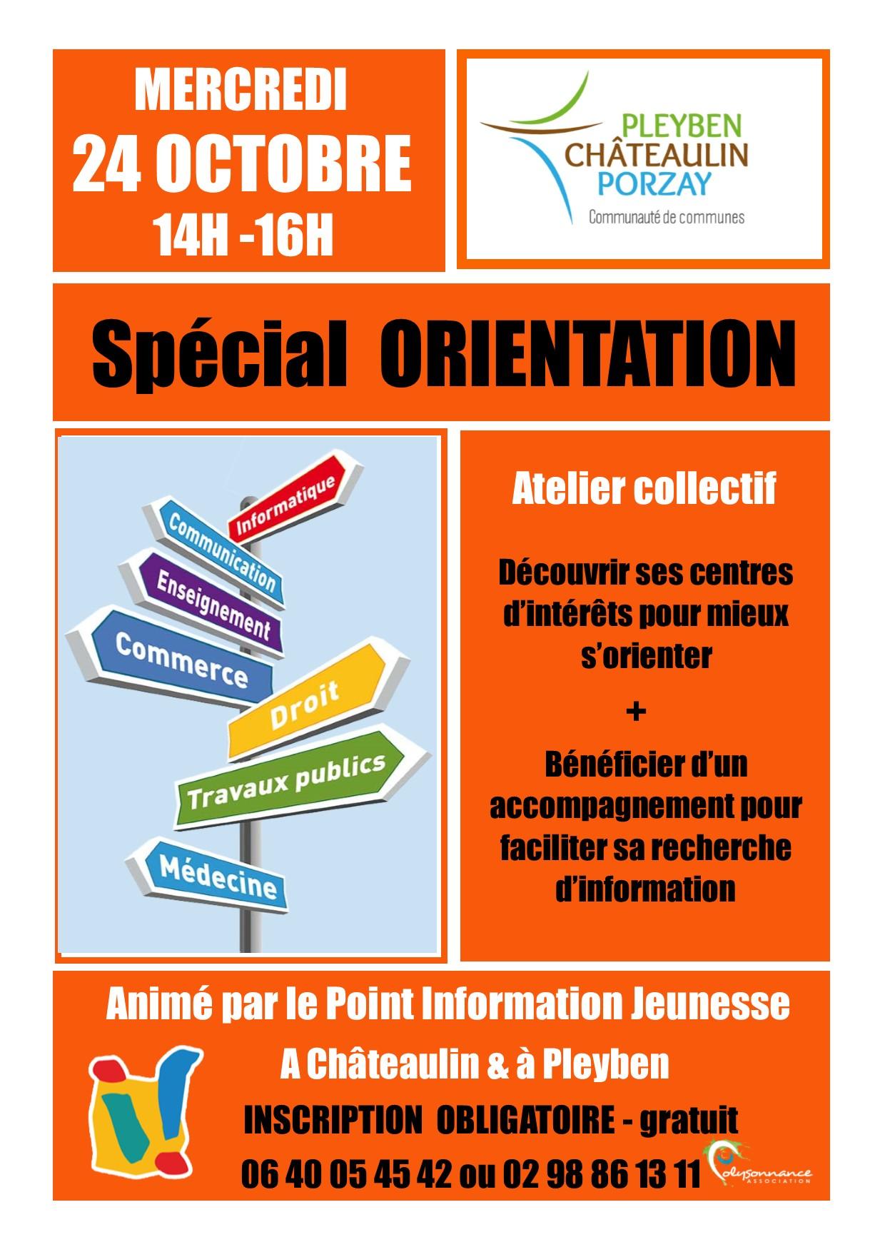 Atelier Spécial ORIENTATION – Mercredi 24 octobre – 14h-16h à Pleyben & Châteaulin