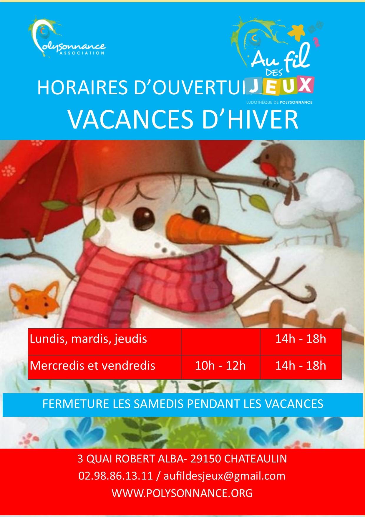 ludothèque les horaires des vacances d'hiver