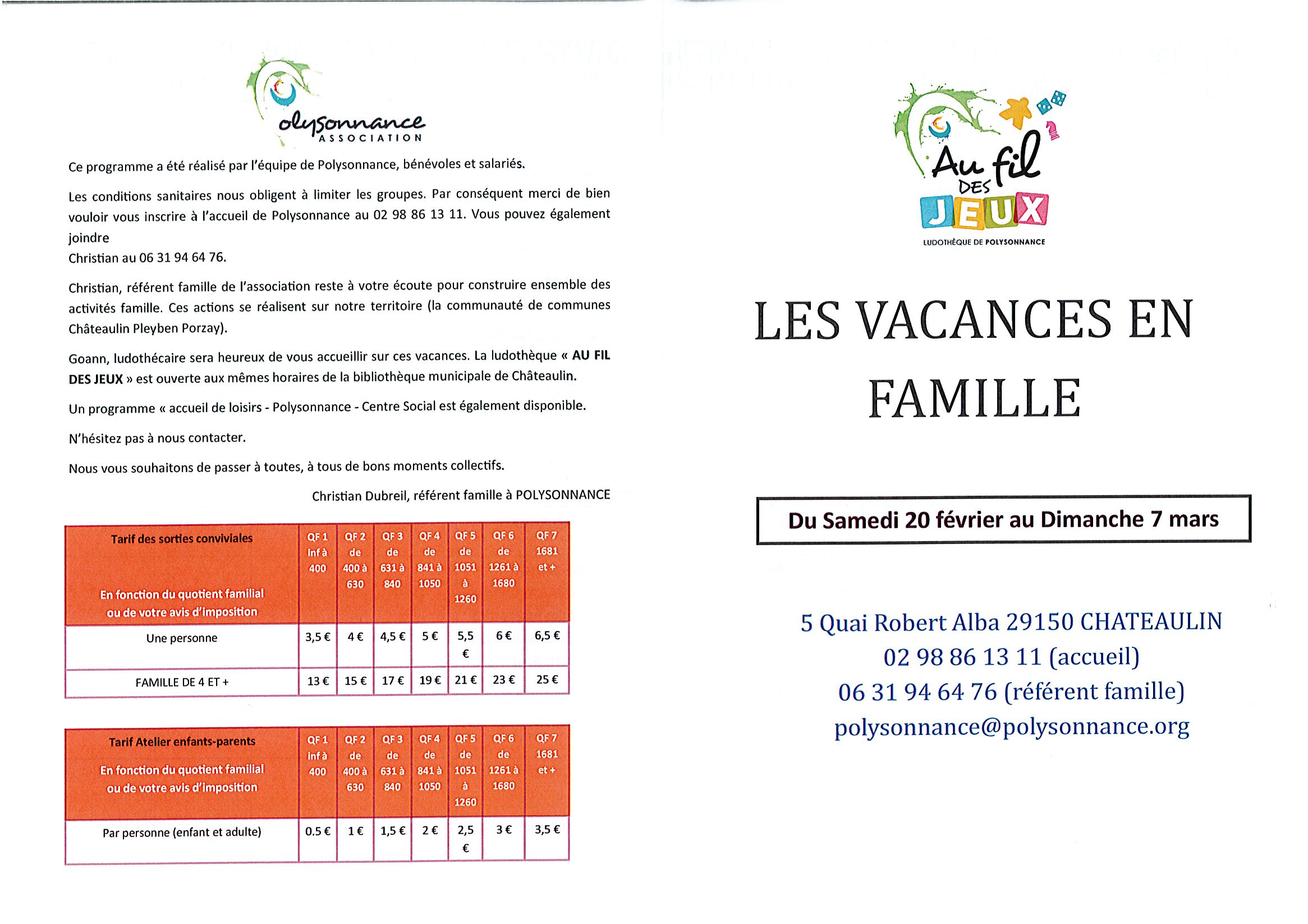 PROGRAMME DES VACANCES EN FAMILLE