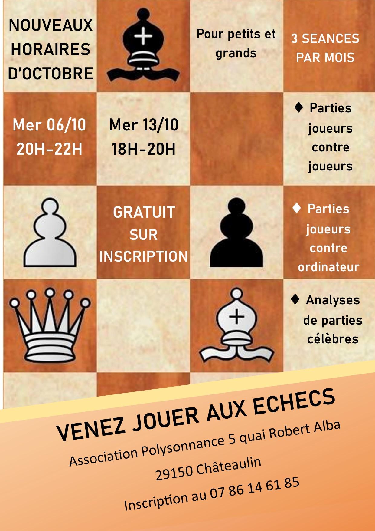 Les ateliers d'échecs continuent, de nouvelles dates pour octobre