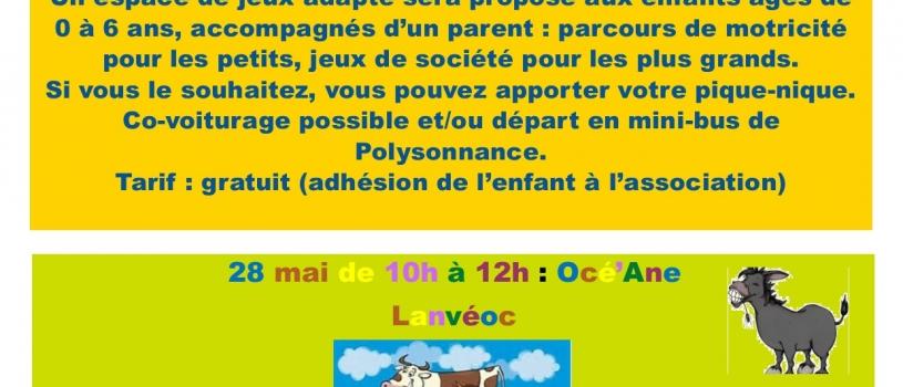 ATELIERS PARENTS/ENFANTS : 7 MAI ET 28 MAI