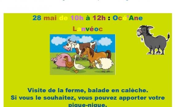 ATELIER ENFANT-PARENT : SAMEDI 28 MAI de 10H à 12H : Ferme OCE'ANE à LANVEOC