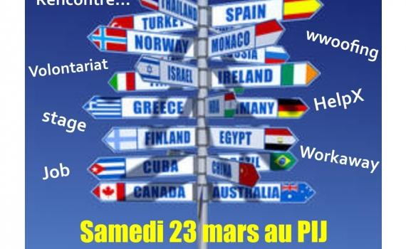PIJ : ATELIER «PARTIR A L ETRANGER» SAMEDI 23 MARS DE 10H à12H à CHATEAULIN
