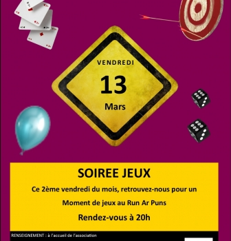 SOIREE JEUX AU RUN AR PUNS : VENDREDI 13 MARS A 20H