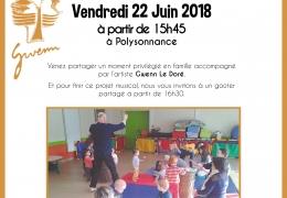RESTITUTION DE L'ATELIER D EVEIL MUSICAL «SONNEZ LES MOTS» VENDREDI 22 JUIN à 15H45 A POLYSONNANCE