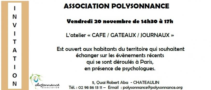 L'Atelier «Café Gâteaux Journaux» est ouvert aux habitants du territoire ce  Vendredi 20 novembre de 14h30 à 17h