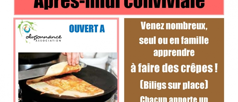 APRES MIDI CONVIVIALE  : SAMEDI 4  FÉVRIER A PARTIR DE 13H30 à LA MPT