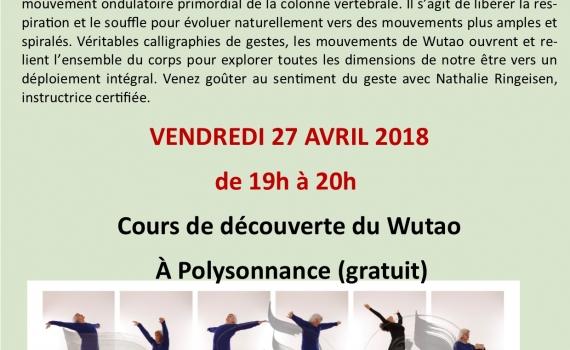 DECOUVERTE DU WUTAO : VENDREDI 27 AVRIL DE 19H A 20H A POLYSONNANCE