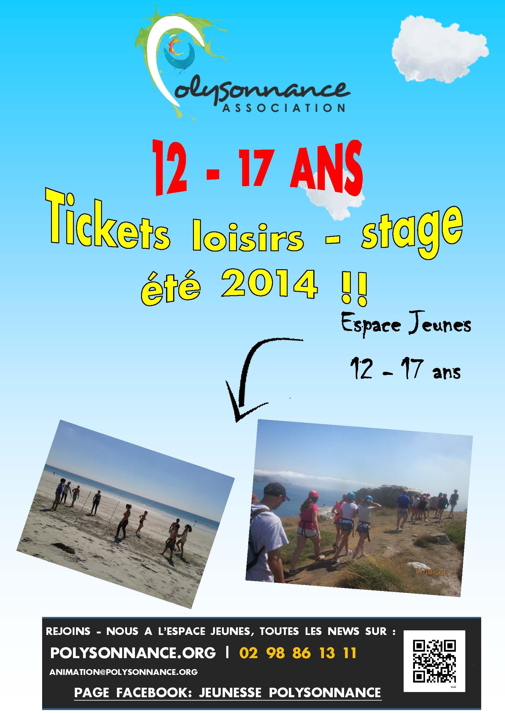 Plaquette des tickets loisirs et du stage de surf – été 2014