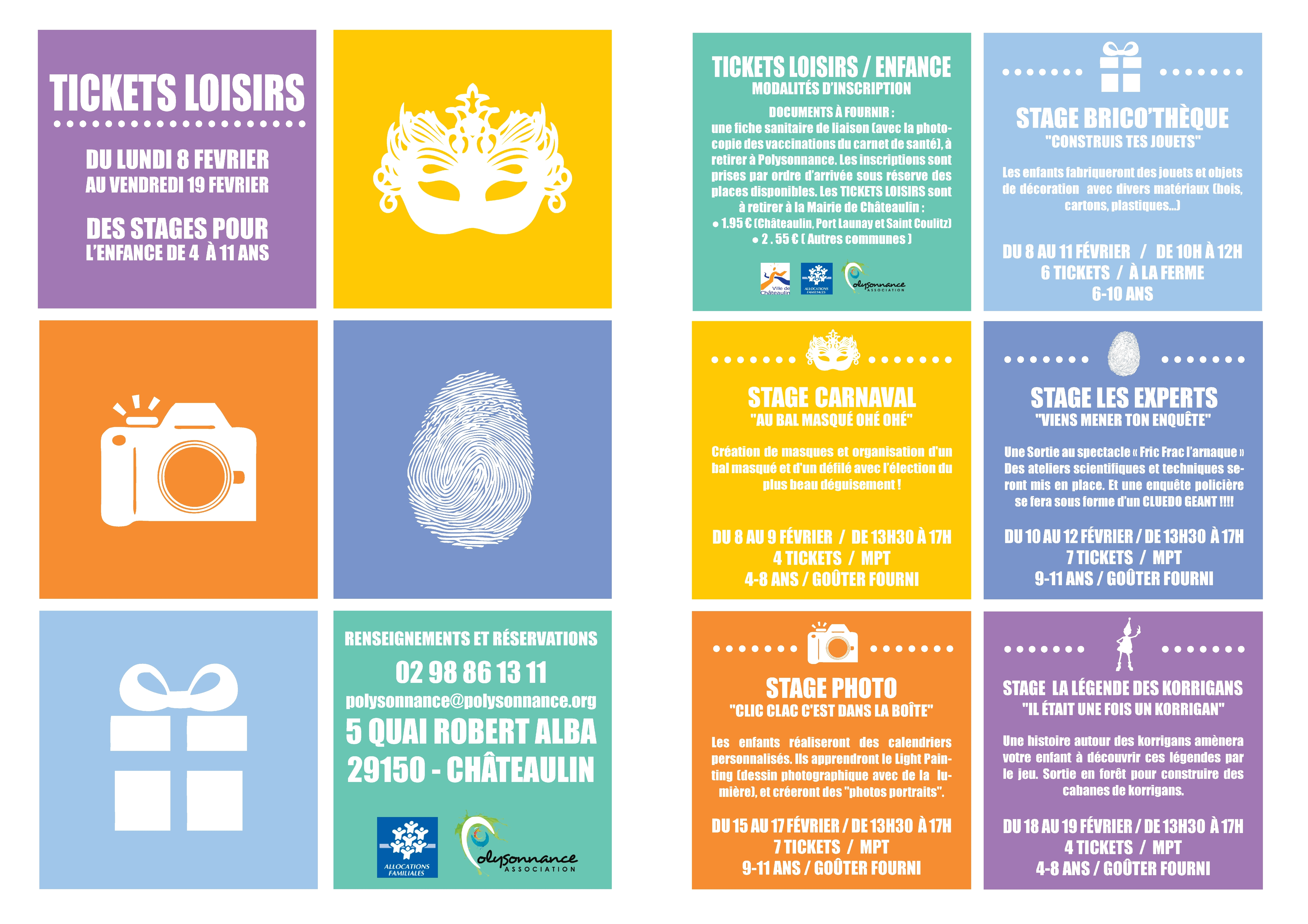 Vacances de Février : Programme enfance des tickets loisirs