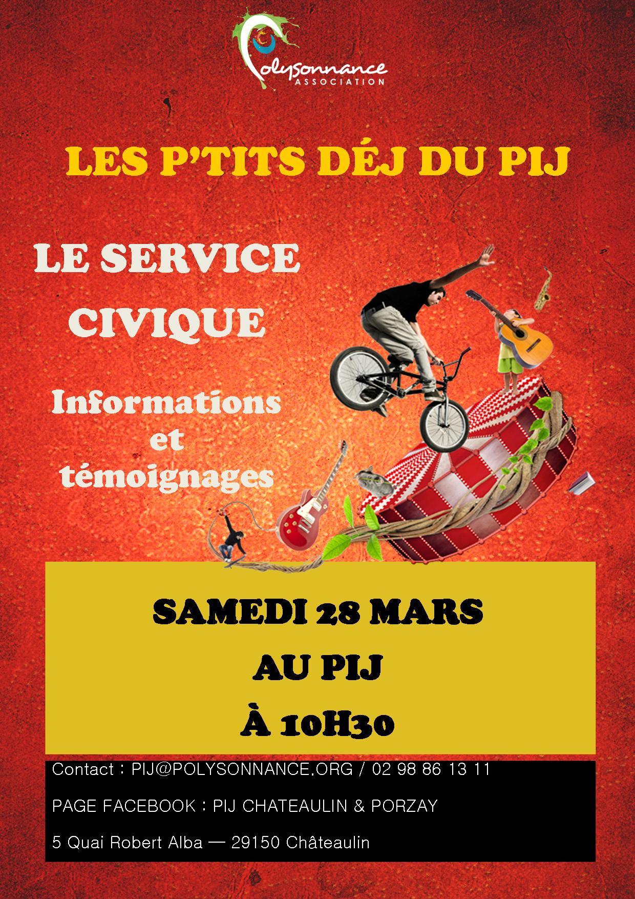Les p'tits déj du PIJ : LE SERVICE CIVIQUE – Samedi 28 mars  à 10h30