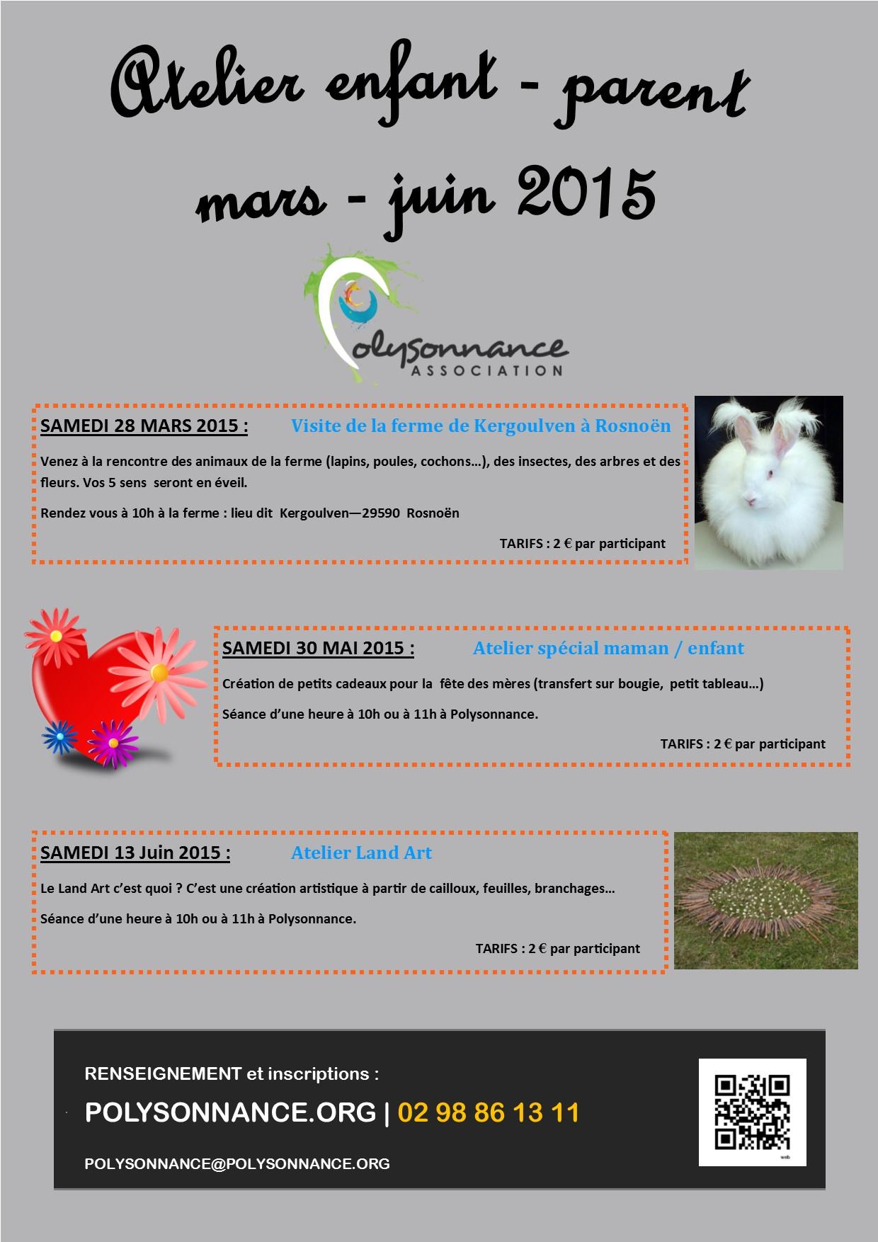 ATELIER ENFANT/PARENTS : Programmation de mars à juin 2015
