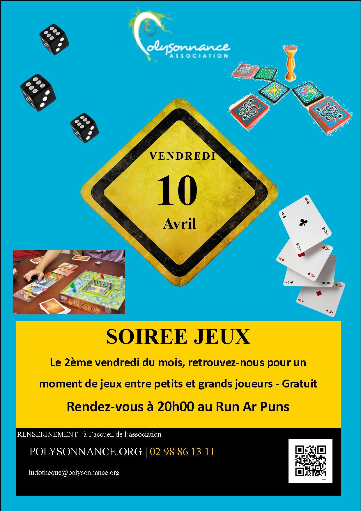 SOIREE JEUX AU RUN AR PUNS : VENDREDI 10 AVRIL 2015  20H