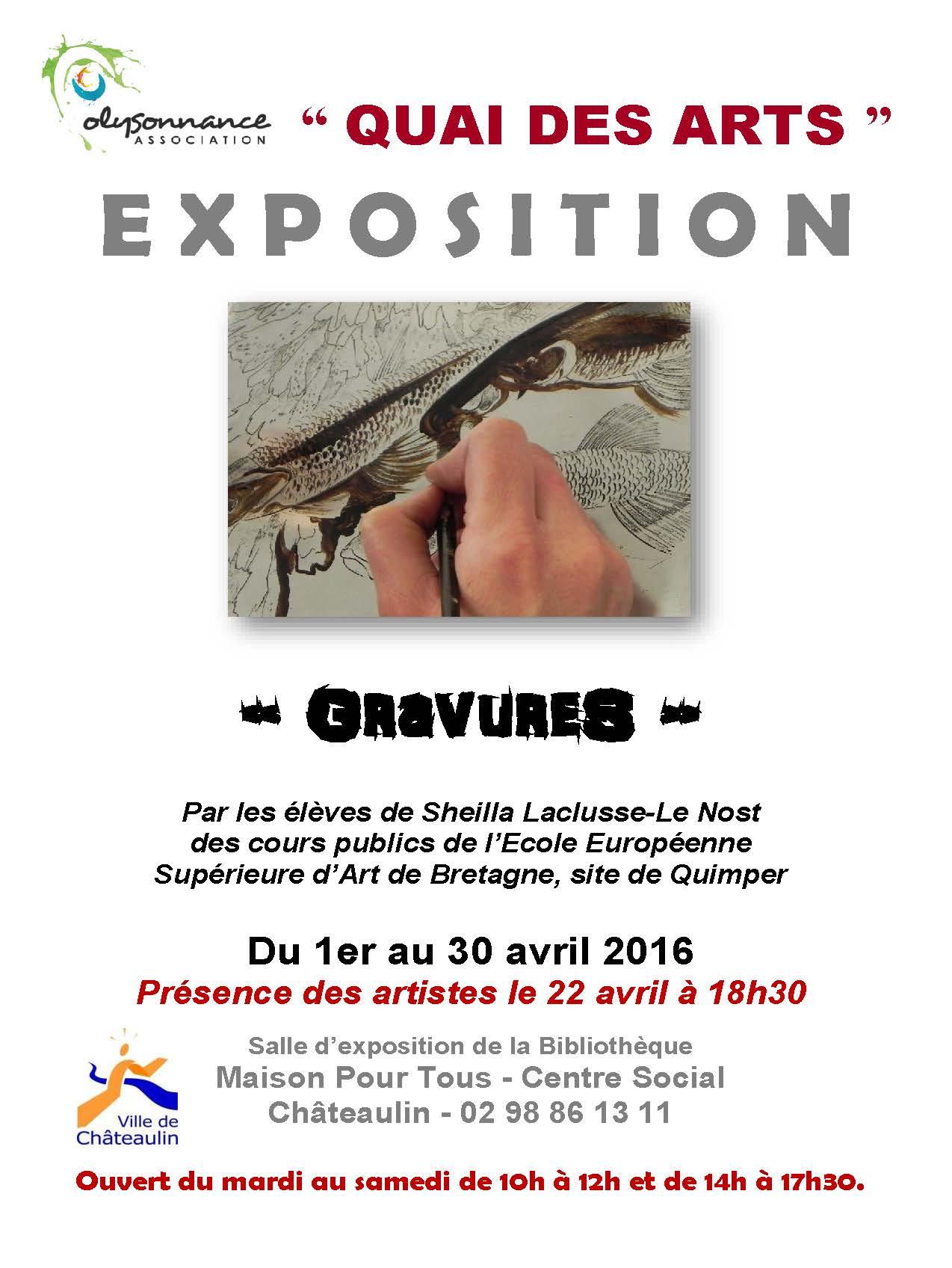 QUAI DES ARTS : EXPOSITION DU 4 AVRIL AU 30 AVRIL (travaux réalisés par les éleves des cours publics de l'Ecole Européenne Supérieure d'Art de Bretagne)