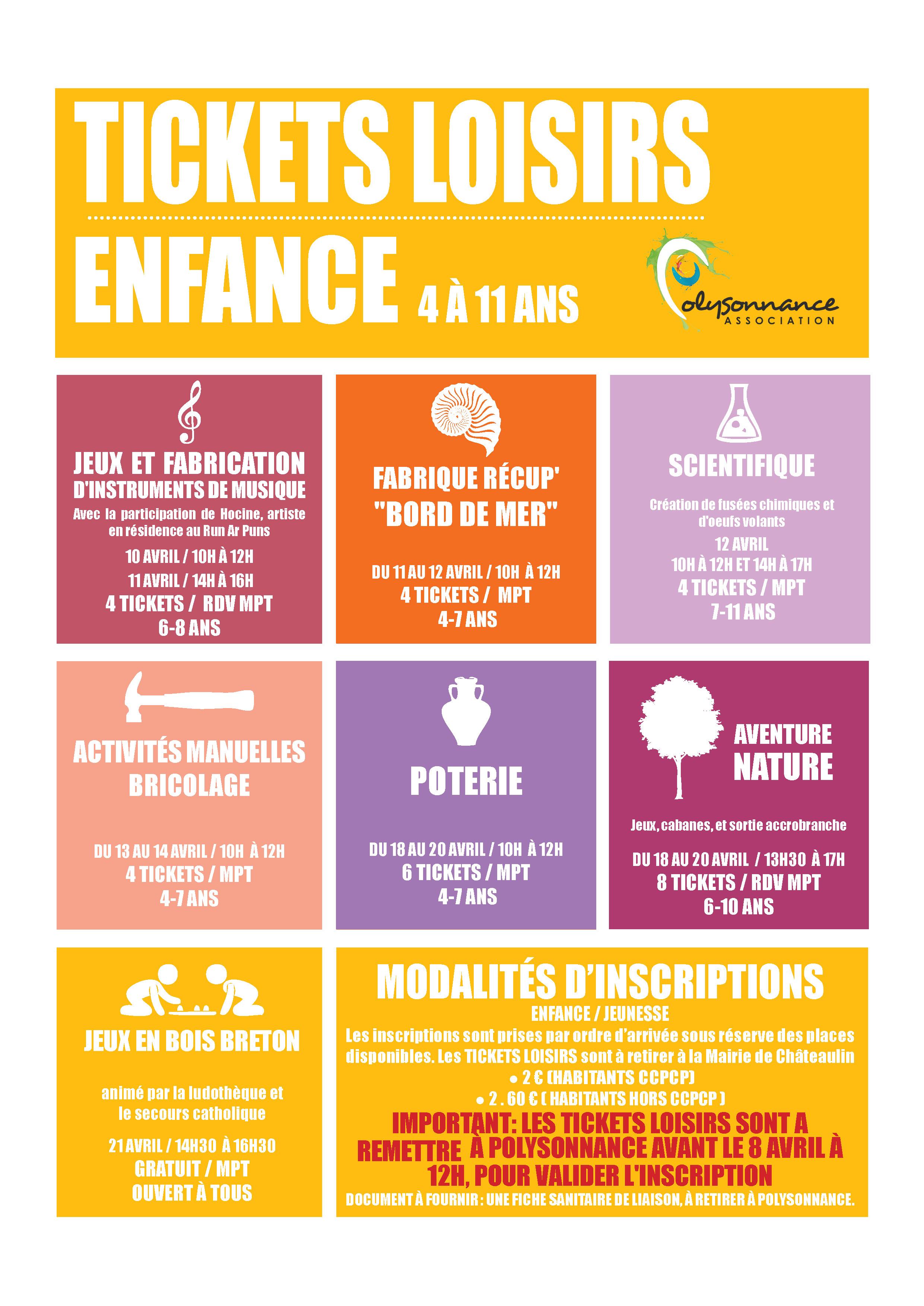 TICKETS LOISIRS «ENFANCE» DE POLYSONNANCE :  LE PROGRAMME DES VACANCES D AVRIL