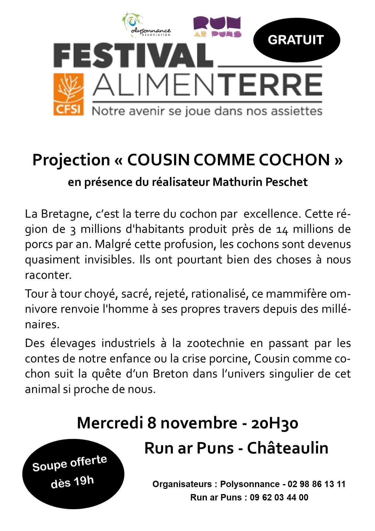 Festival AlimenTerre au Run ar Puns le 8 novembre à 20h30!