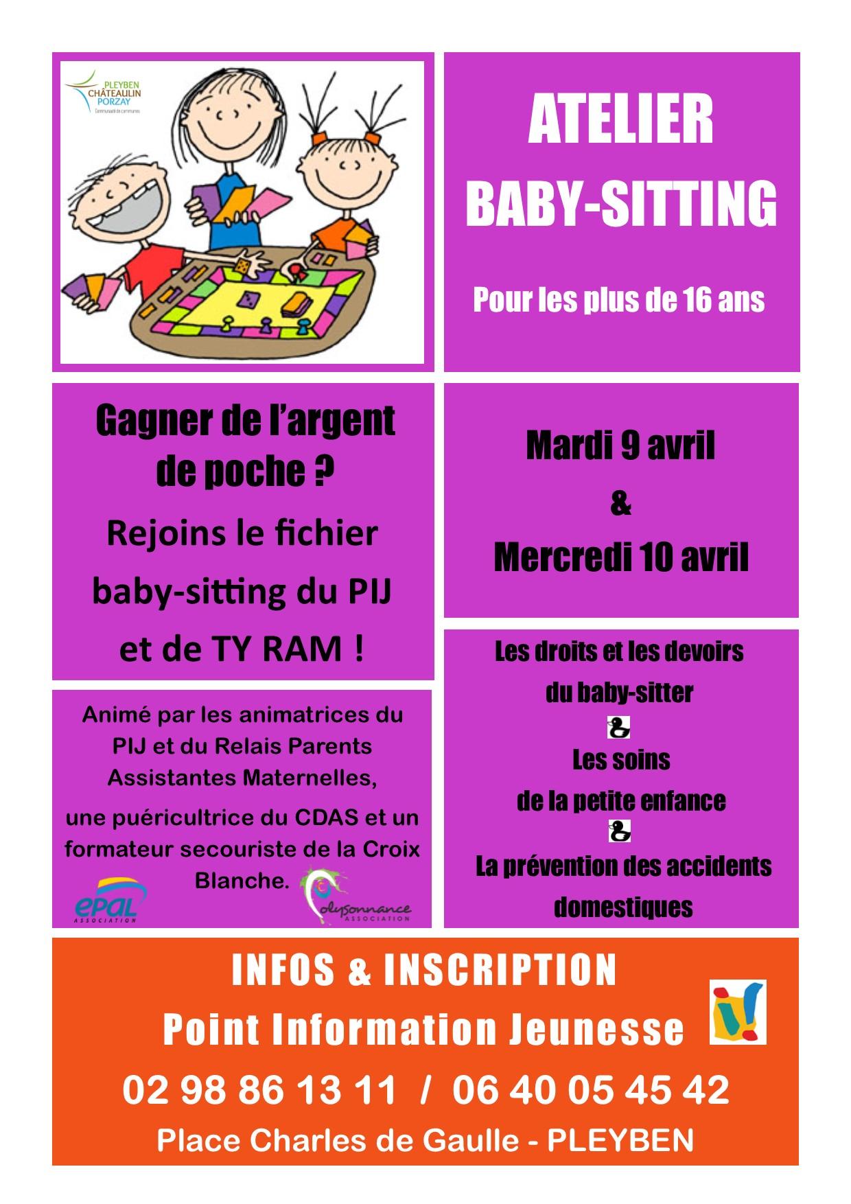 PIJ : ATELIER BABY-SITTING : MARDI 9 AVRIL et MERCREDI 10 AVRIL à PLEYBEN