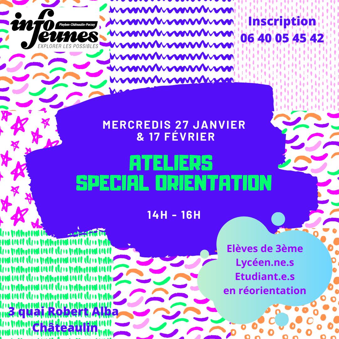 Ateliers spécial orientation mercredis 27 janvier et 17 février